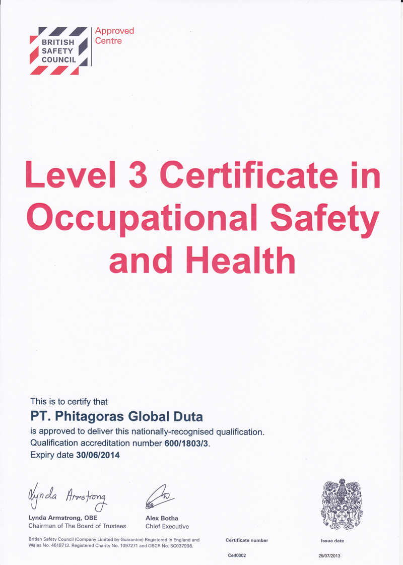 British Safety Council Level 3 Certificate in Occupational Safety and health