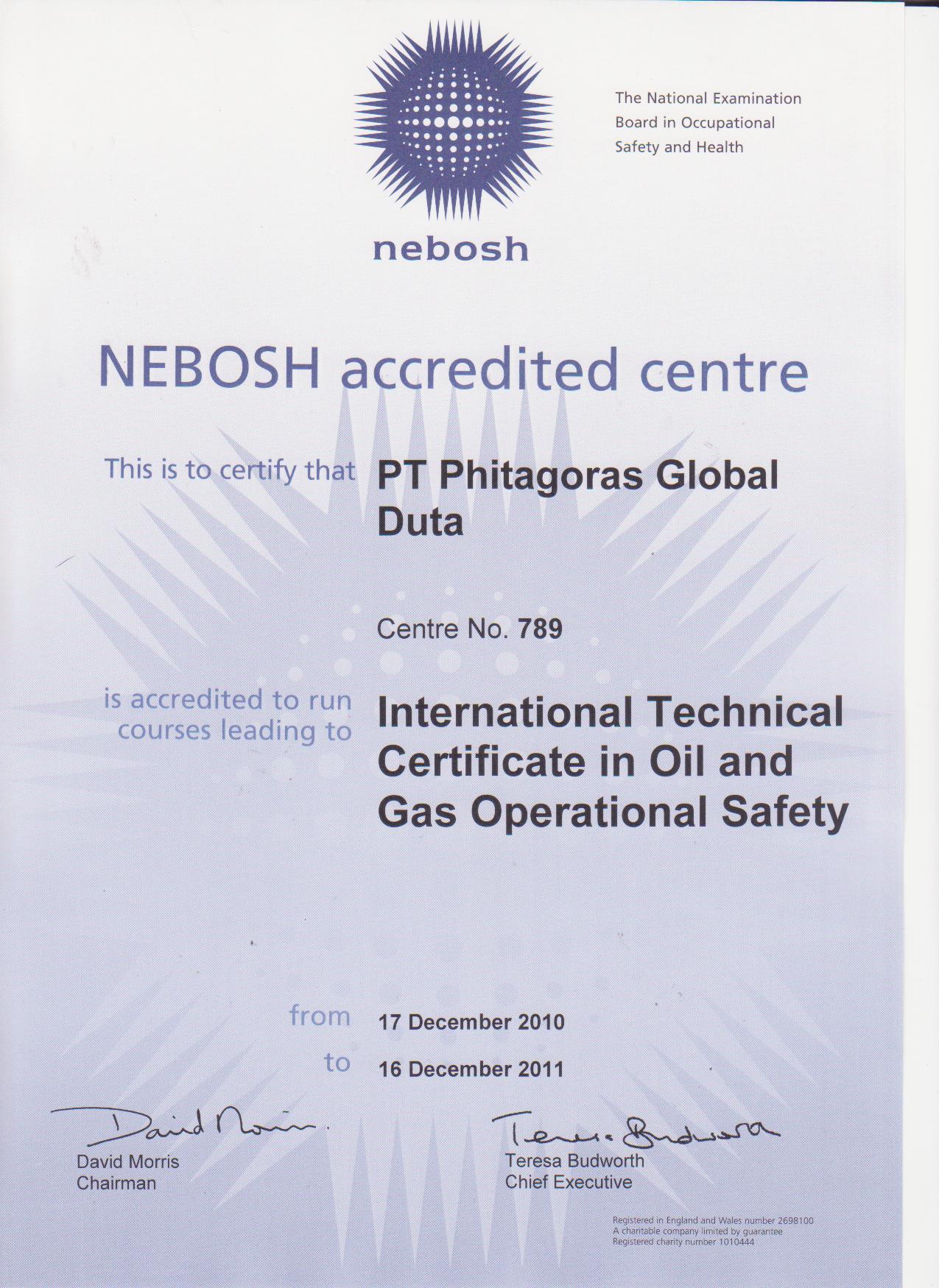 Nebosh Indonesia Certificate