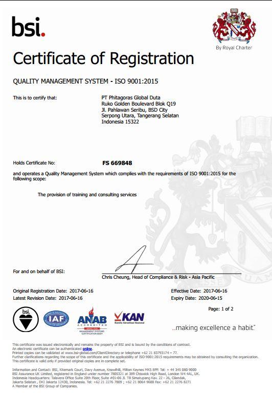 Sertifikat ISO PT. Phitagoras Global Duta