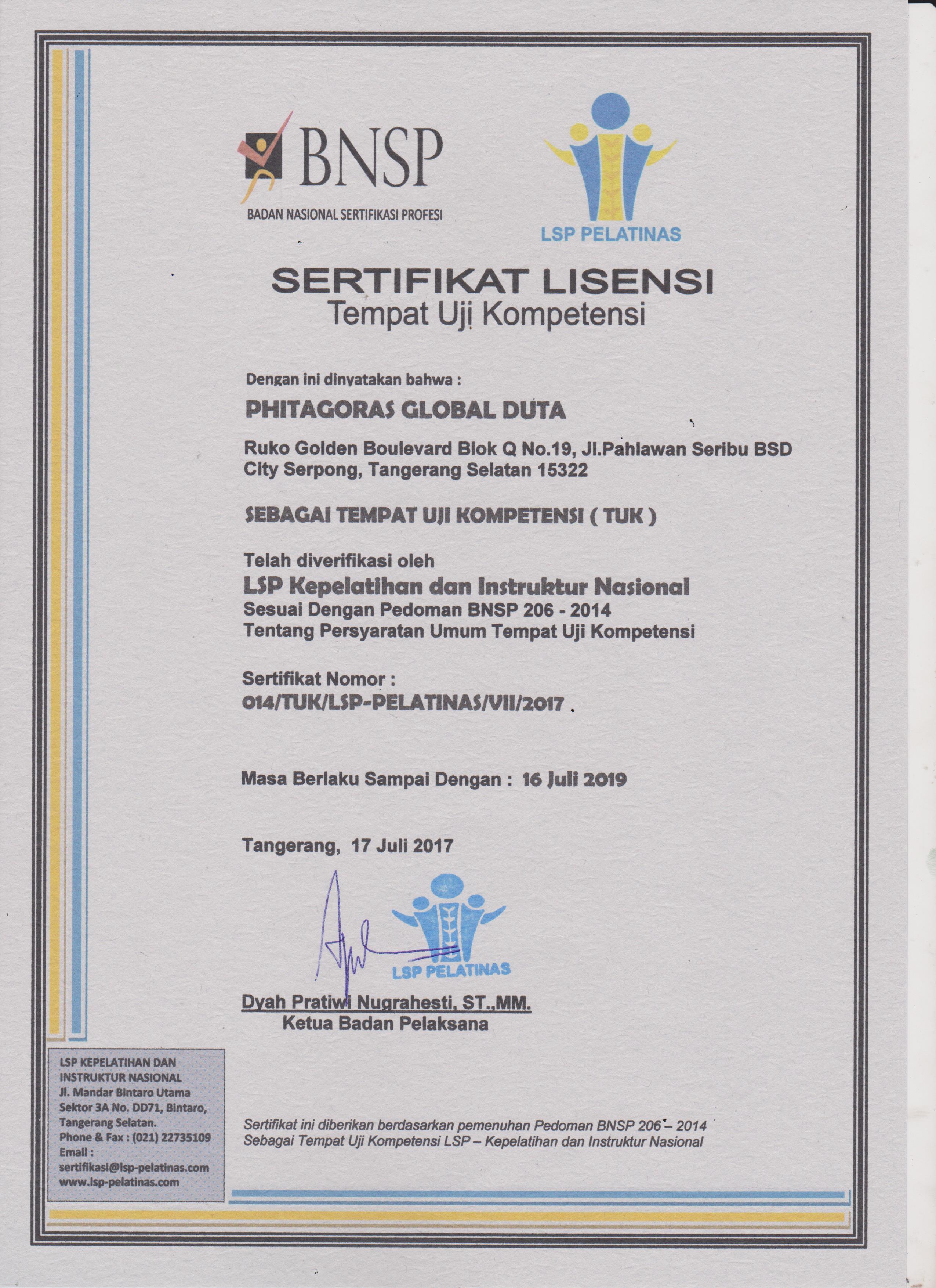 Sertifikat Lisensi Pt Phitagoras Global Duta Dari Lsp Pelatinas Training Ahli K3 Hse Consultant Konsultan Iso Nebosh Indonesia