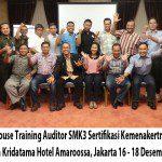 InHouse Training Auditor SMK3 Sertifikasi Kemenakertrans PT. Cipta Kridatama Hotel Amaroossa, Jakarta 16 – 18 Desember 2013