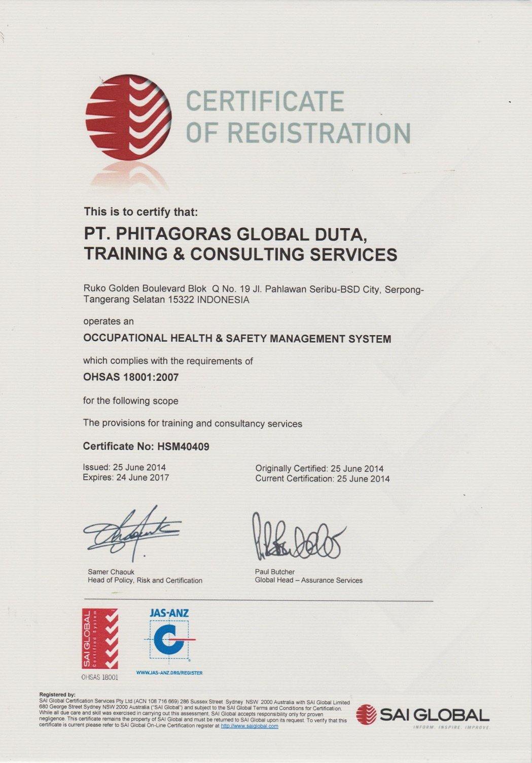 Sertifikat Ohsas PT. Phitagoras Global Duta