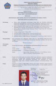 Perpanjangan Surat Keputusan Penunjukan (SKP) Ahli K3 Umum