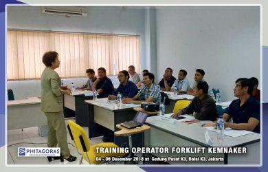 Kegiatan Training Operator Forklift Sertifikasi KEMNAKER, 04-06 Desember 2018