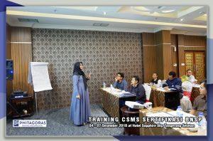 Kegiatan Training Contractor Safety Manajemen System ( CSMS ) Sertifikasi BNSP, 16 - 19 Oktober 2018