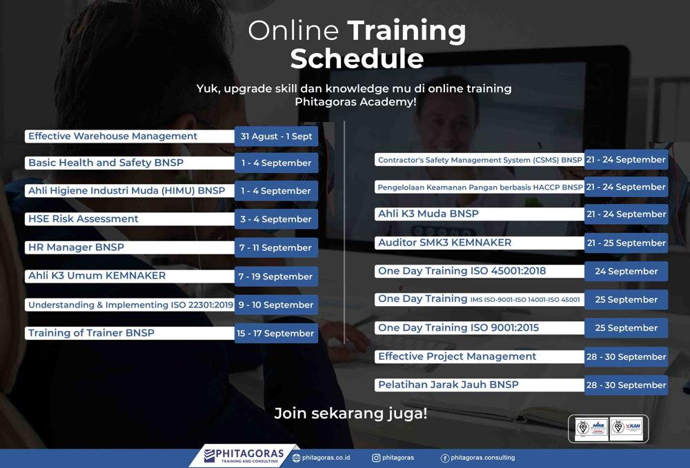Online Training Schedule - September 2020