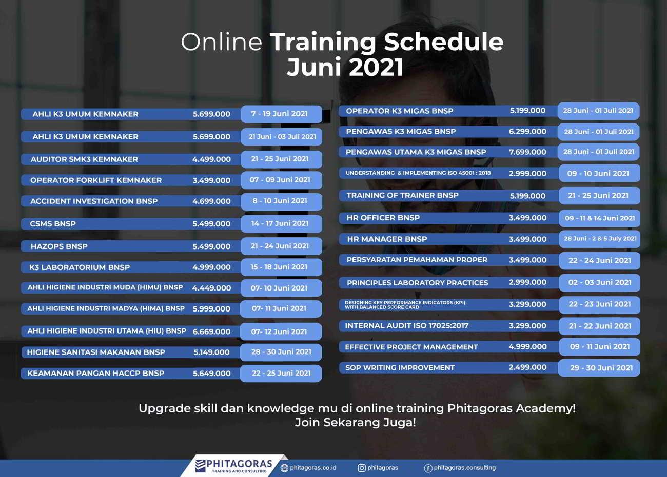 Online Training Schedule - Juni -