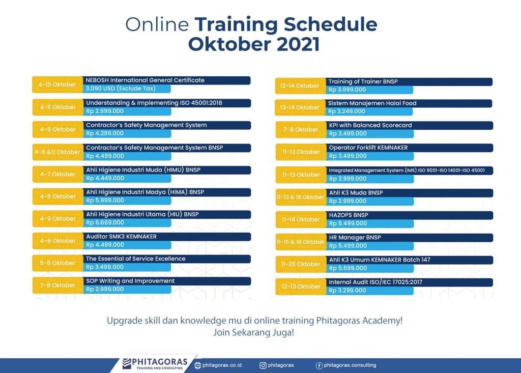 Online Training Schedule - Oktober 2021